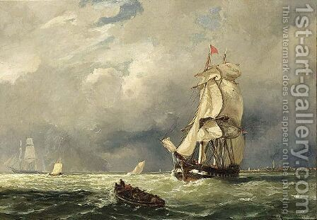 Shipping Off The Coast by Jacob Eduard Van Heemskerck Van Beest - Reproduction Oil Painting