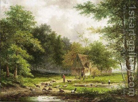 A Shepherd And His Flock In A Wooded Landscape 2 by Jan Evert Morel - Reproduction Oil Painting