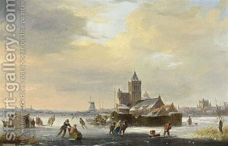 A Winter Landscape With Skaters On A Frozen River by Jacobus Van Der Stok - Reproduction Oil Painting
