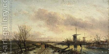 Skaters In A Winter Landscape At Dusk by Charles Henri Leickert - Reproduction Oil Painting