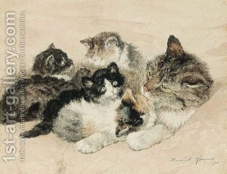The Favourite by Henriette Ronner-Knip - Reproduction Oil Painting