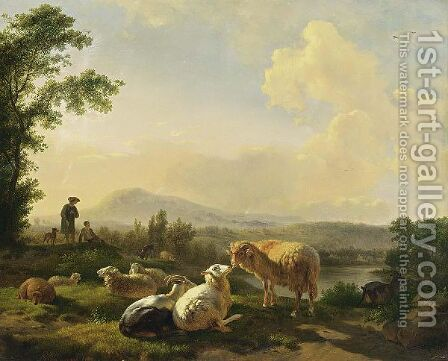 Herdsmen With Sheep In A Landscape by Balthasar Paul Ommeganck - Reproduction Oil Painting