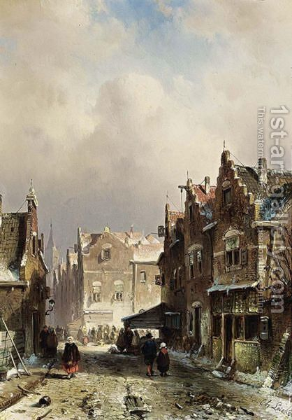 Villagers In The Streets Of A Wintry Town by Charles Henri Leickert - Reproduction Oil Painting