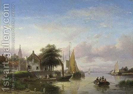 A Summer Landscape With Boats On A River by Jan Jacob Coenraad Spohler - Reproduction Oil Painting
