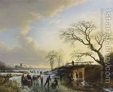 Skaters With A Horse-Drawn Sledge On A Frozen River by Barend Cornelis Koekkoek - Reproduction Oil Painting