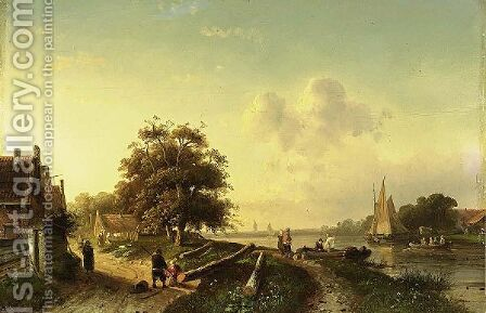 A River Landscape With Figures On A Country Road by Charles Henri Leickert - Reproduction Oil Painting