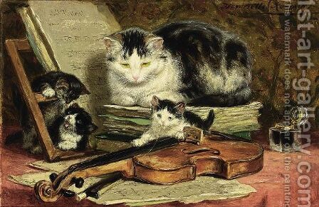 The Violin Lesson by Henriette Ronner-Knip - Reproduction Oil Painting