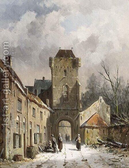 A Wintry View Of The Dijkpoort In Hattem by Adrianus Eversen - Reproduction Oil Painting