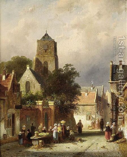 A Street Scene With Villagers By A Market Stall by Charles Henri Leickert - Reproduction Oil Painting