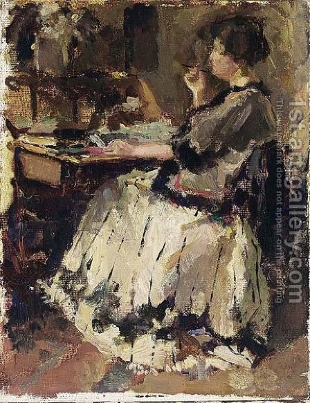 An Elegant Lady At A Writing Desk (Probably Tjieke Roelofs) by Albert Roelofs - Reproduction Oil Painting