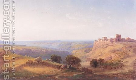 Figures In A Hilly Landscape Near A Town, Turkey by Carlo Bossoli - Reproduction Oil Painting