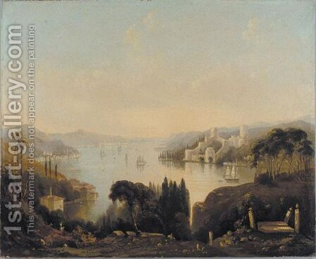 View Of The Fortress Of Rumeli Hisari On The Bosphorus From Anadolu Hisari Hill by (after) George Edwards Hering - Reproduction Oil Painting