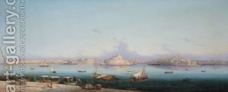 View Of The Three Cities Across The Grand Harbour, Valletta by Girolamo Gianni - Reproduction Oil Painting