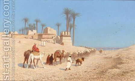 Arrival Of A Caravan At The Nile by Charles Théodore Frère - Reproduction Oil Painting