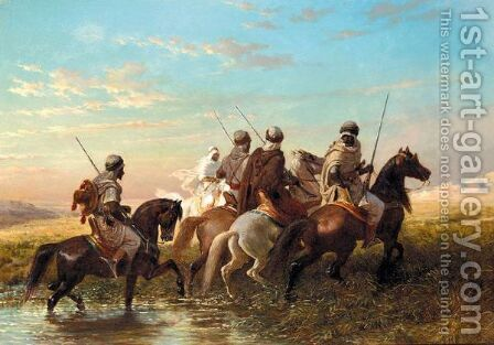 Arab Horsemen by (after) Adolf Schreyer - Reproduction Oil Painting