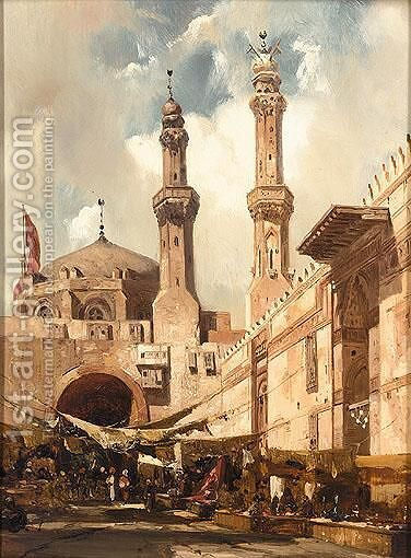 A Cairo Bazaar by Adrien Dauzats - Reproduction Oil Painting