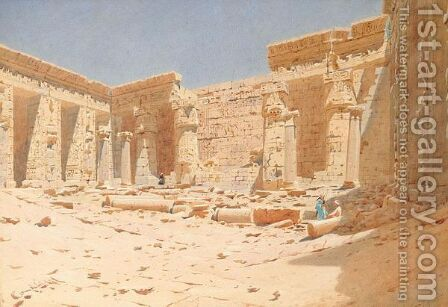 View Of The Interior Of The Temple Of Medinet-Habou, Thebes by Augustus Osborne Lamplough - Reproduction Oil Painting