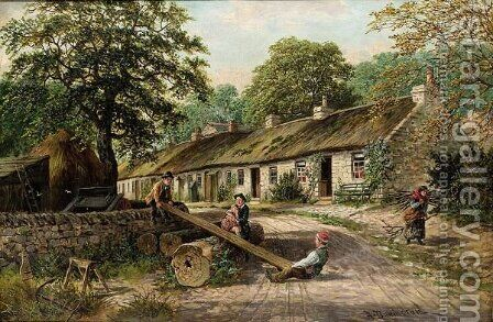 See-Saw, The Old Cottage Homes, Lamlash, Arran by Albert Dunington - Reproduction Oil Painting