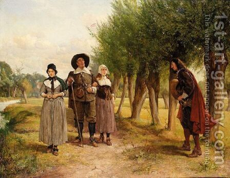 The Wary Father by Edgar Bundy - Reproduction Oil Painting