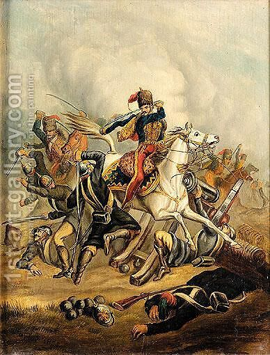 11th Hussars - Riding Through The Russian Guns, 20th October, 1854 by Charles Taylor - Reproduction Oil Painting