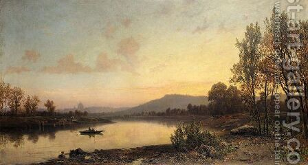 Fishing At Sunset, Rome In The Distance by Hermann David Solomon Corrodi - Reproduction Oil Painting