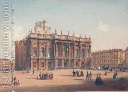 Palazzo Madonna In The Piazza Castello In Turin by Continental School - Reproduction Oil Painting