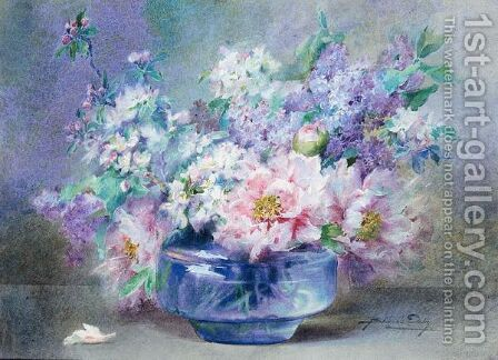 A Bowl Of Flowers Including Apple Blossom, Lilac And Peonies by Blanche Odin - Reproduction Oil Painting