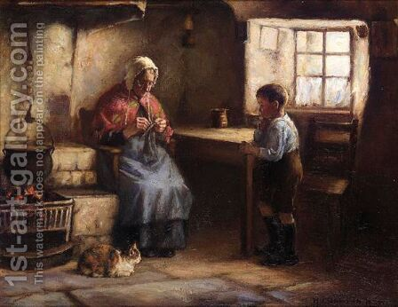 By The Fire With Grandmother by Henry John Dobson - Reproduction Oil Painting