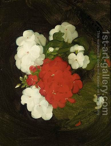 A Still Life Of Geraniums by James Stuart Park - Reproduction Oil Painting