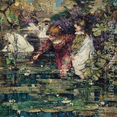 The Swan Lake by Edward Atkinson Hornel - Reproduction Oil Painting