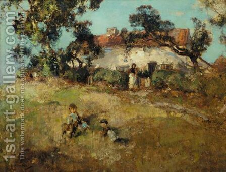 Children Playing Near A Cottage by Edward Arthur Walton - Reproduction Oil Painting