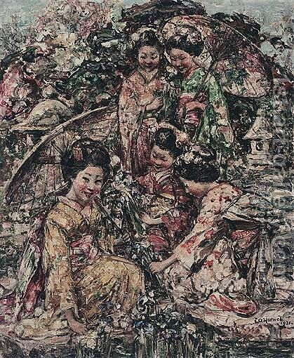 Young Japanese Girls Gathering Flowers by Edward Atkinson Hornel - Reproduction Oil Painting
