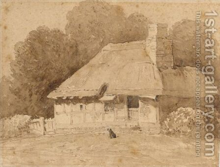 A Dog By A Thatched Cottage by David Cox - Reproduction Oil Painting