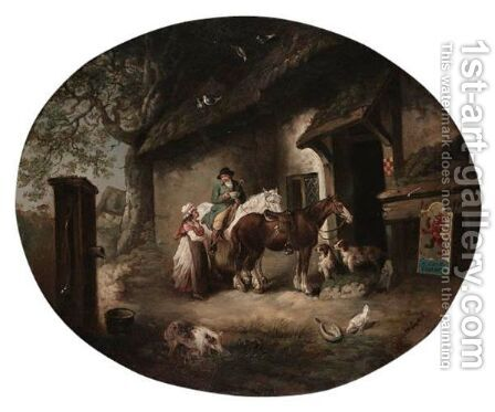 At The Alehouse Door by (after) George Morland - Reproduction Oil Painting