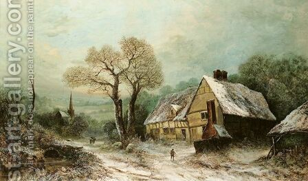 Winter Landscape With Cottage by A. Newby - Reproduction Oil Painting