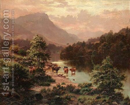Cattle By A River by Edgar Longstaffe - Reproduction Oil Painting