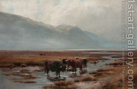 Cattle In A River by Henry Hadfield Cubley - Reproduction Oil Painting