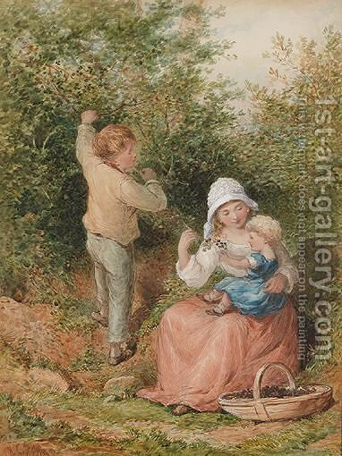 Blackberry Picking by Henry Hobson - Reproduction Oil Painting