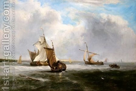 Fishing Vessels Off The Coast by (after) John Wilson Carmichael - Reproduction Oil Painting