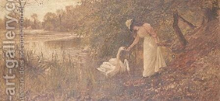 Feeding The Swans, Swanbourne Lake Arundel by Hamilton Jay - Reproduction Oil Painting