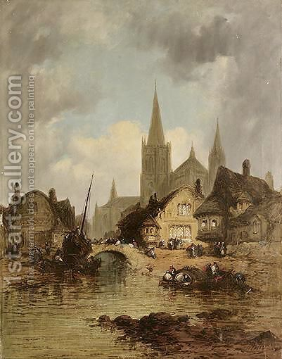 Oberwesel On The Rhine by Henry Foley - Reproduction Oil Painting