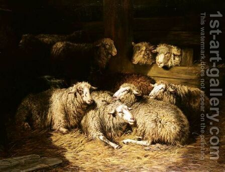 Sheep In A Byre by Dirk Peter Van Lokhorst - Reproduction Oil Painting