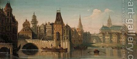 Canal Scene, Capriccio by August Friedrich Siegert - Reproduction Oil Painting