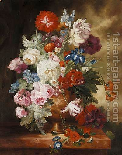 Still Life Study Of Urn Of Mixed Flowers On A Marble Ledge by Dutch School - Reproduction Oil Painting