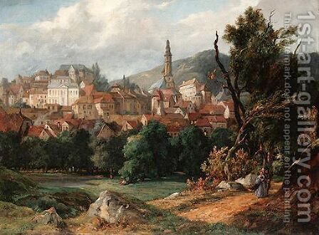 View Of Baden Baden by Jacques Guiaud - Reproduction Oil Painting