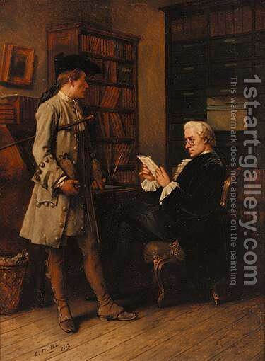 Checking The Figures by Benjamin Eugene Fichel - Reproduction Oil Painting