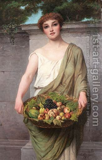 The Fruit Seller by Attilio Baccani - Reproduction Oil Painting