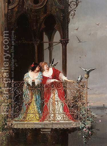 Two Ladies On A Balcony by Arnoldo Corrodi - Reproduction Oil Painting