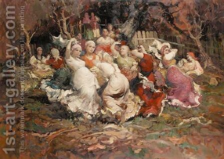 Peasants Dancing by Continental School - Reproduction Oil Painting