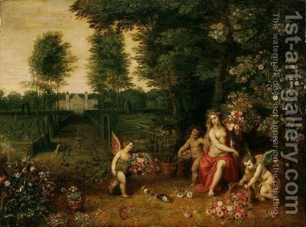 An Allegory Of Spring - Flora Attended By Putti In The Grounds Of A Country Villa by Jan, the Younger Brueghel - Reproduction Oil Painting
